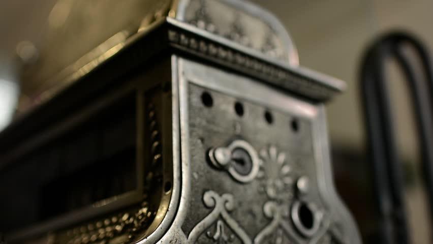 Old cash register machine closeup artwork. Perfect Business background | Shutterstock HD Video #30741514