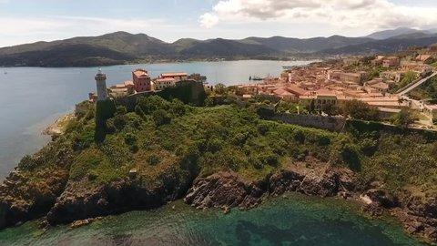 Aerial shot of Villa dei Mulini and Forte Stella of Portoferraio