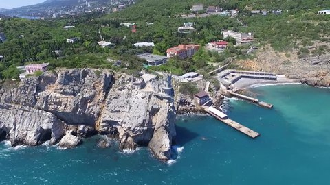 2 in 1. Swallow's Nest castle on the rock over the Black see. Gaspra. Crimea, Russia. Pack 2.