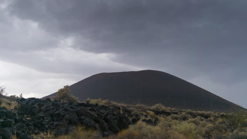 Thunderstorm Mojave Desert near Cinder mountain extinct volcano  4K from 6K source | Shutterstock HD Video #30764266
