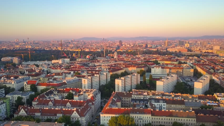 Vienna aerial view panning over the city at sunrise  | Shutterstock HD Video #30793084