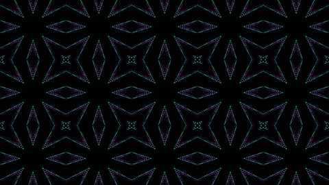 disco kaleidoscopes background with animated glowing neon colorful lines and geometric shapes for music videos, VJ, DJ, stage, LED screens, show, events.seamless loop.Oriental.