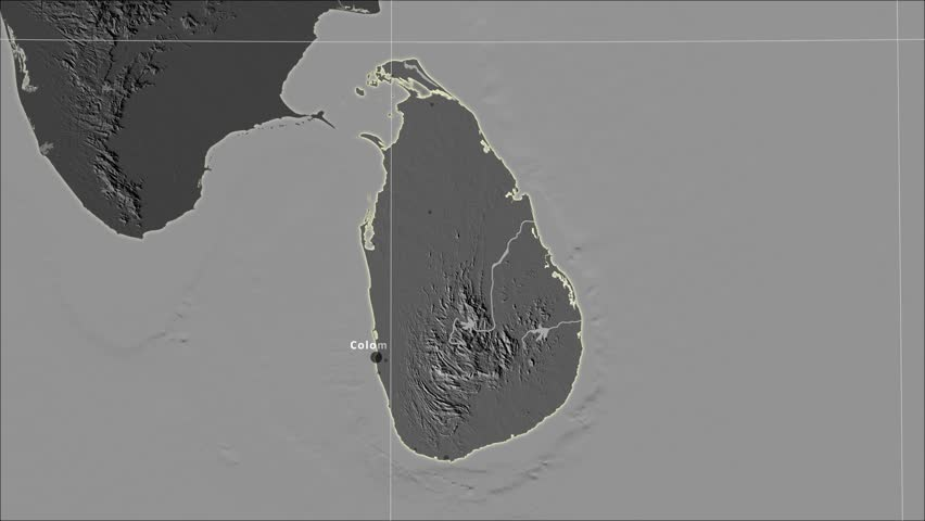 The Sri Lanka area map in the Azimuthal Equidistant projection. Layers of main cities, capital, administrative borders and graticule. Elevation & bathymetry - grayscale contrasted