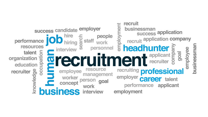 Recruitment animated word cloud, text design animation.