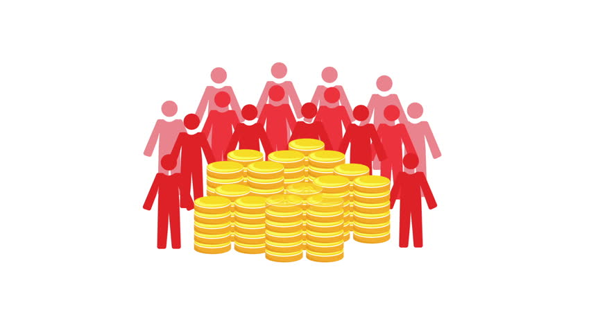 Animated video representing crowdfunding or group financing