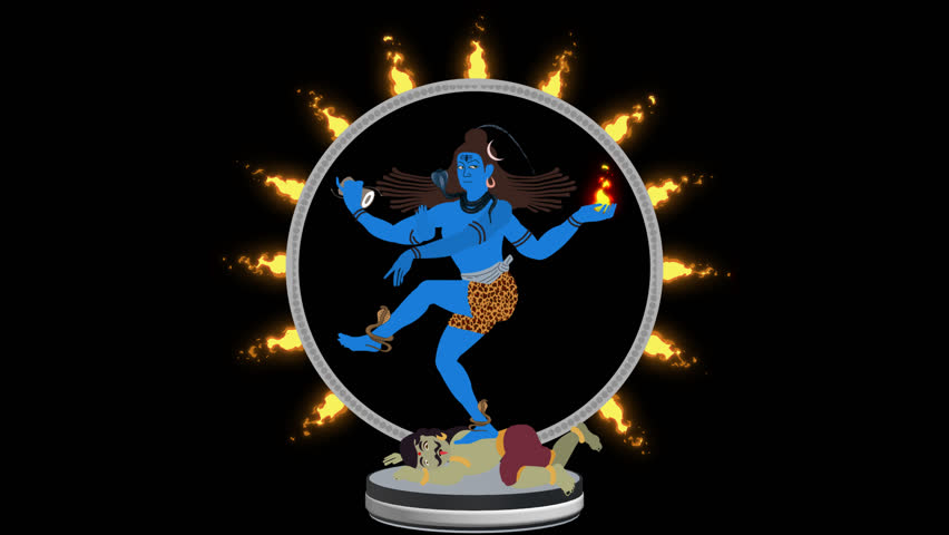 Lord Shiva the Destroyer Crashing Apasmara in a Ring of Fire Alpha Channel