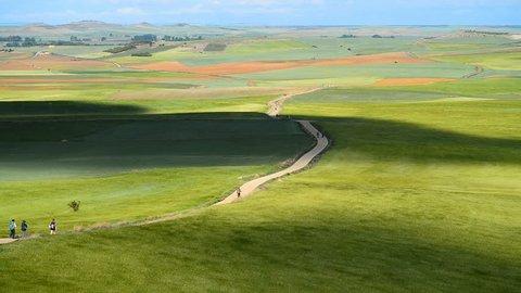 "view on the landscape ""meseta"", a long stretch of plateau. Camino de Santiago. Spain, Europe."