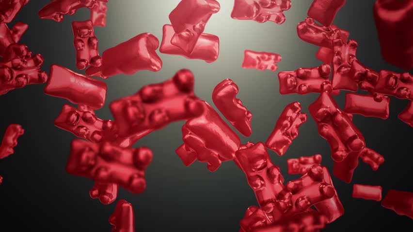 Animation of falling jelly candy bears on colorful background. Animation of seamless loop.