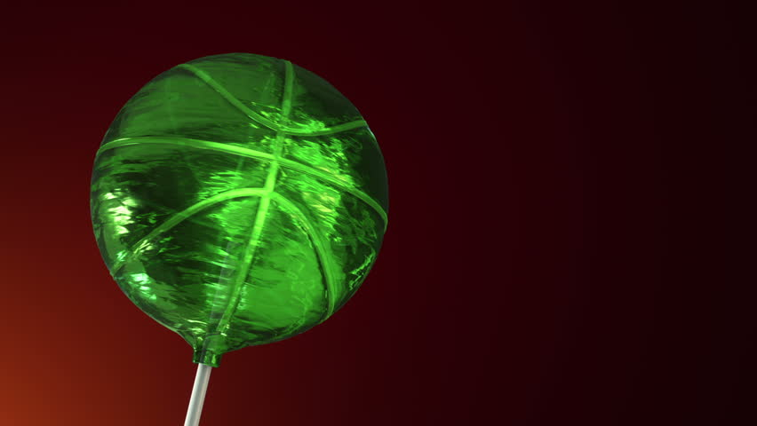 Animation of rotation lollipop candy on plastic stick as form of basketball ball on colorful background. Animation of seamless loop. | Shutterstock HD Video #30894034