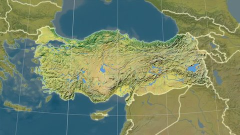 The Turkey area map in the Azimuthal Equidistant projection. Layers of main cities, capital, administrative borders and graticule. Main physiographic features