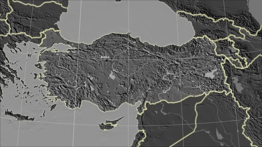 The Turkey area map in the Azimuthal Equidistant projection. Layers of main cities, capital, administrative borders and graticule. Elevation & bathymetry - grayscale contrasted