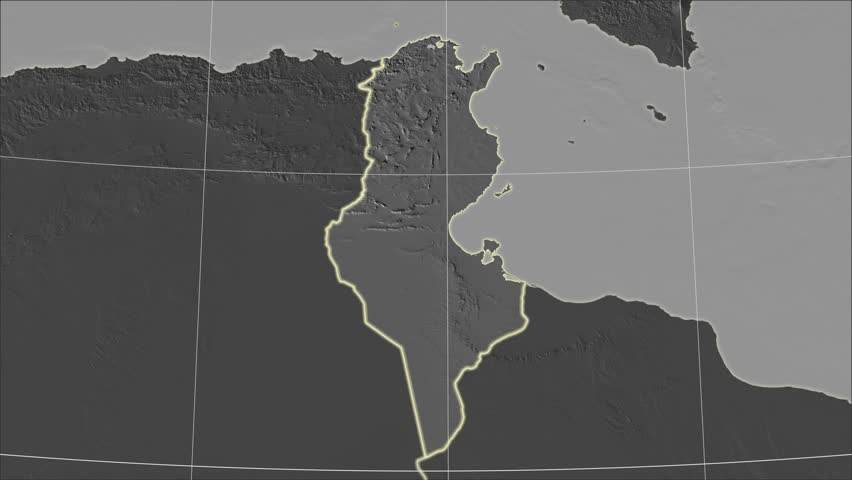 The Tunisia area map in the Azimuthal Equidistant projection. Layers of main cities, capital, administrative borders and graticule. Elevation & bathymetry - grayscale contrasted