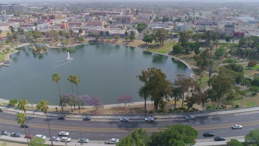 Downtown Los Angeles pond full  aerial colour | Shutterstock HD Video #30920389