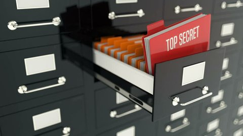 Top secret folder in archive drawer, military records, intelligence, security