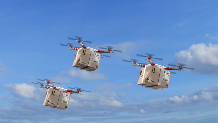 delivery drones - drone Quadrocopter delivers a package - fast autonomous drone delivery