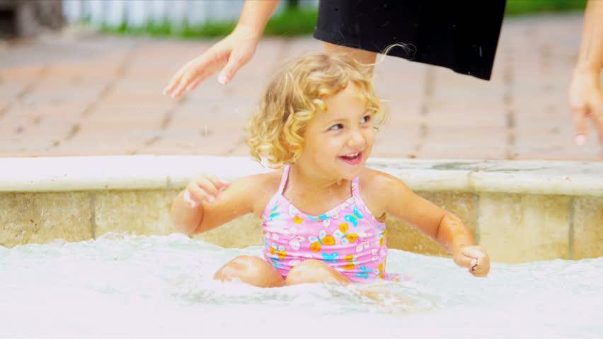 Cute Little Blonde Girl Swimsuit | Shutterstock HD Video #3093394