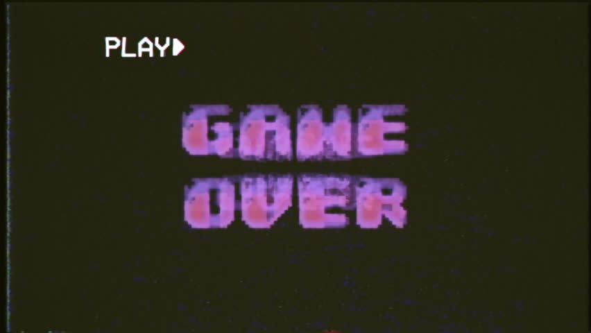 A videogame ending screen text on a VHS tape: Game over Try again Insert coin. 8-bit fat retro style.
