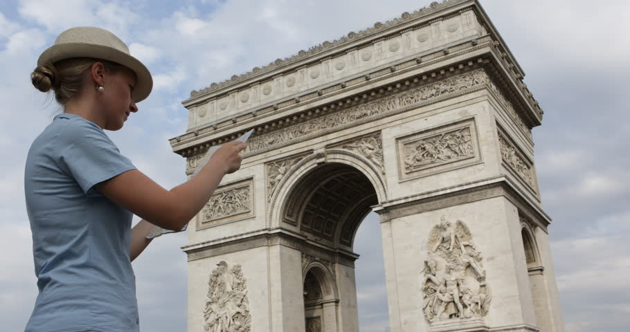 Loosen Tourist Woman Research Direction On Paris City Map, Triumph Arch Landmark | Shutterstock HD Video #30967579