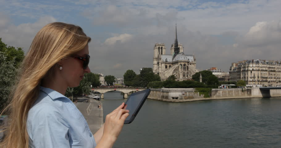 Business Woman Surfing Internet On Digital Tablet, Girl Exam Data Inventory In Paris Trip | Shutterstock HD Video #30967612