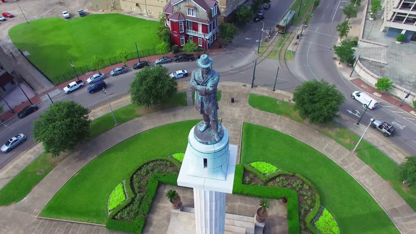 Close up aerial view of General Robert E Lee at Lee Circle in New Orleans Louisiana