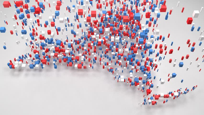 Map of New York State - USA | 3D Fall down of little bricks - Flag colors | Shutterstock HD Video #31004473