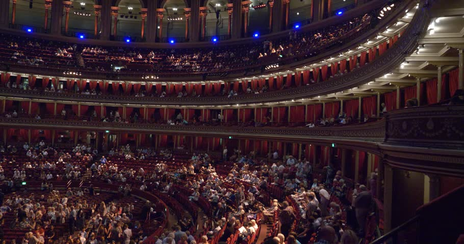 London England 23rd June 2017: concert hall Royal Albert Hall London Classical Music concert crowded big massive audience beautiful room people waiting for concert to start