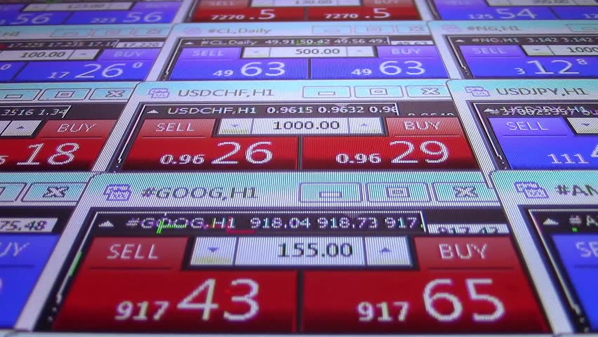Forex stock market quotes ticker board close up- new quality financial business data screen dynamic technology motion video footage animation