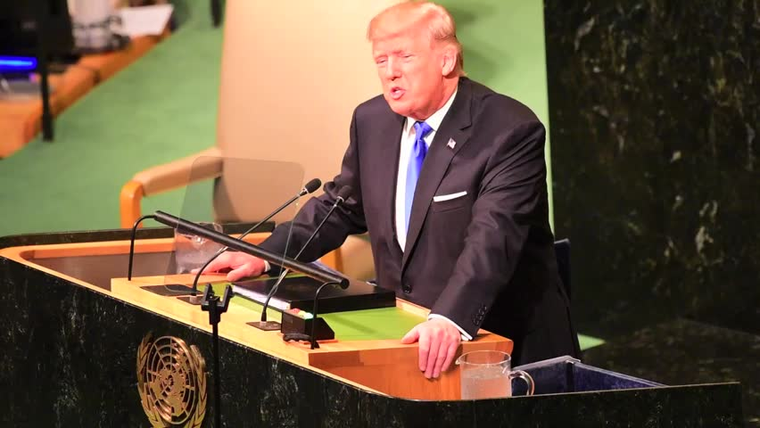 "NEW YORK CITY - SEPTEMBER 19 2017: US President Donald Trump makes ""Rocket Man"" speech to open debate of the 72nd UN General Assembly"