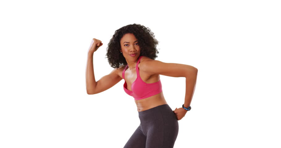 4147e2a6 Beautiful strong black woman flexing her muscles on white background with  copyspace. Portrait of African American female in workout clothes showing  off ...