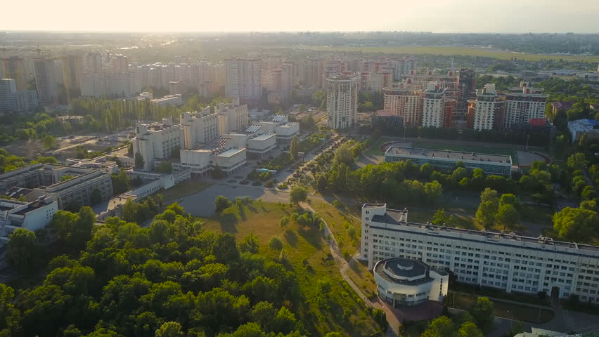 aerial view of  Kiev, Ukraine. Faculties of Taras Shevchenko National University of Kyiv Geography, Biology, Radio Physics, Electronics and Computer Systems, Cybernetics, Sociology