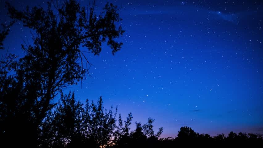 Night sky timelapse with running stars