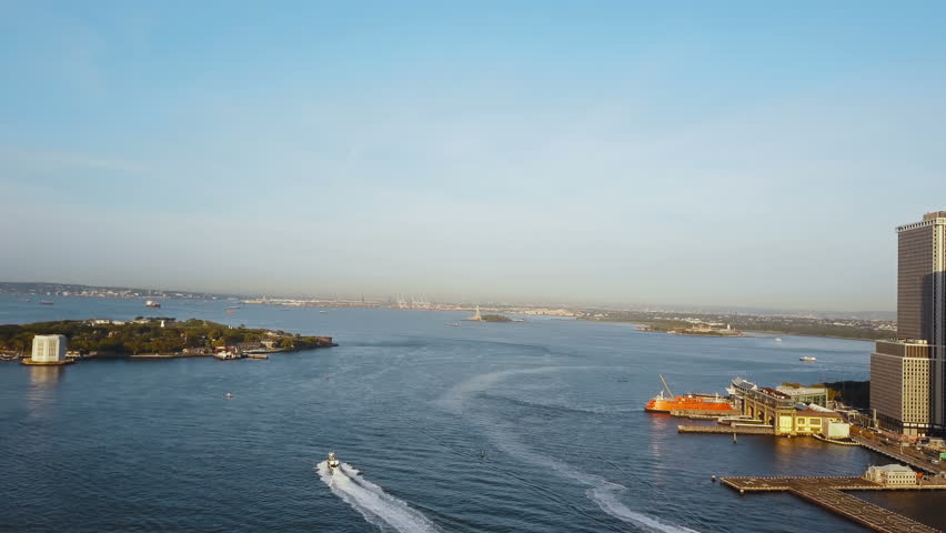 Aerial view of New York, America. Famous sights East river, Governors island and statue of liberty on the horizon. | Shutterstock HD Video #31017871