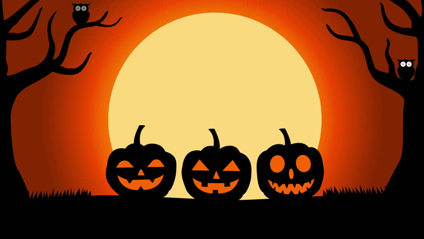 2D Animation halloween background with silhouettes of pumpkins under full moon