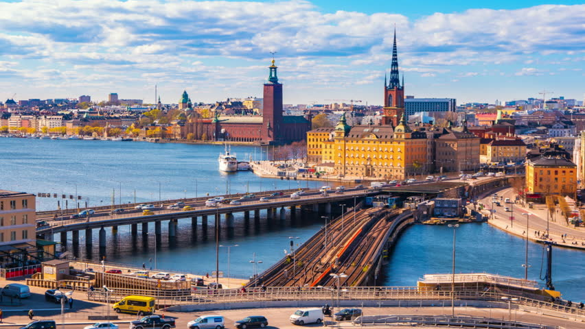 Timelapse video of Stockholm cityscape with view of Gamla Stan old town in Stockholm, Sweden, Time Lapse 4K