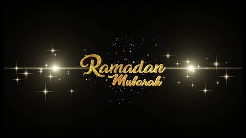 Ramadan Kareem (Eid Mubarak) Beautiful golden greeting Text Appearance from blinking particles with golden fireworks background.