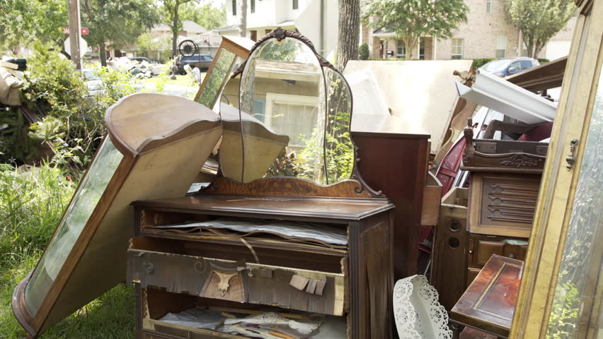 Awesome Antique Furniture And Other Belongings Placed Placed Outside For Removal  Due To Irreparable Floodwater Damage During