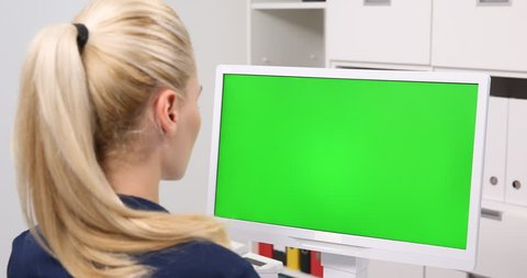Business Woman Watch Computer Monitor Green Screen Display Chroma Key Office Job