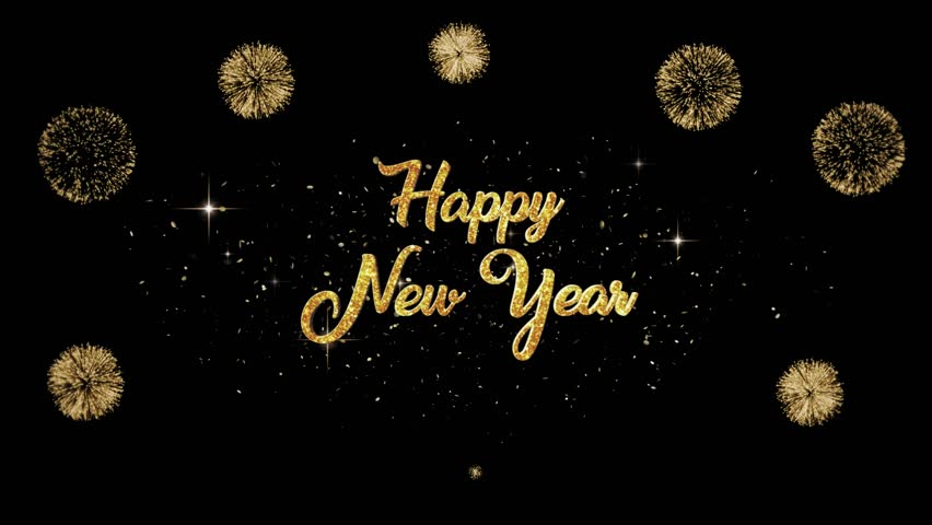 Happy New Year Beautiful golden greeting Text Appearance from blinking particles with golden fireworks background.