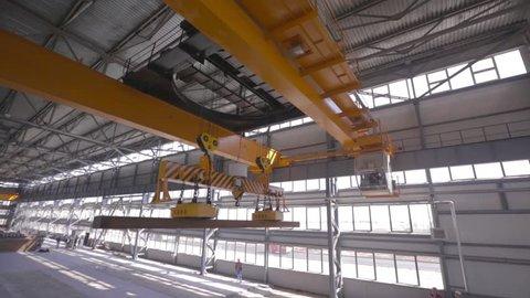 Close up of a factory overhead crane