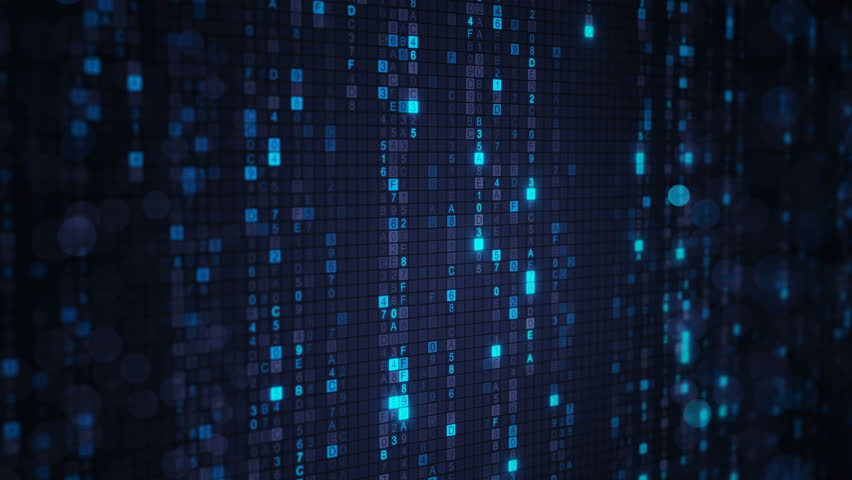 Blue matrix rain of digital HEX code and bokeh on computer screen. Seamless loop abstract technology 3D animation rendered with DOF 4k (4096x2304) | Shutterstock HD Video #31077604