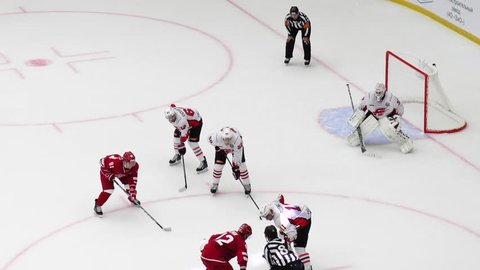 PODOLSK, RUSSIA - SEPTEMBER 3, 2017: D. Furch (33) miss a point on hockey game Vityaz vs Avangard on 10th Russia KHL championship in Podolsk, Russia. Vityaz won 6:2