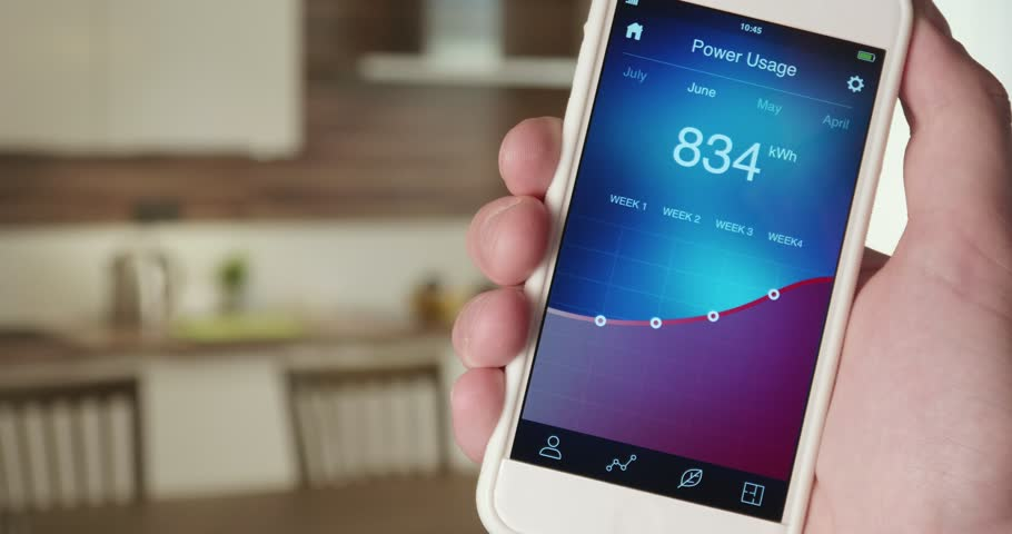 Monitoring power usage in the house using smartphone app | Shutterstock HD Video #31082674
