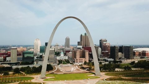 September 21st, 2017. St Louis, Missouri, USA. Drone footage of the St Louis Arch.