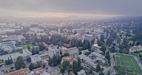 Aerial flying over the oakland hills, berkeley university & The Cal Campus Campanile. 25 July, 2017, Berkeley, USA