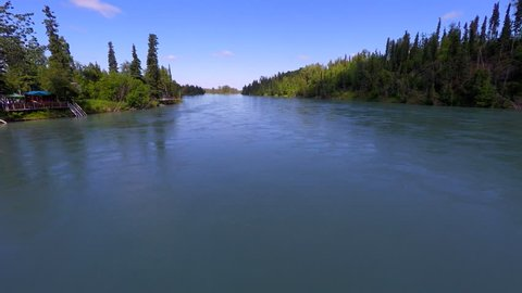 Alaska 4K Aerial Drone tracking over world King Salmon Record producing fishing Kenai river then booming up to reveal the green alaska pine forest in the background and the bend in the Kenai river 2