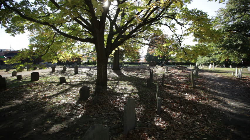 A wide shot of a  burial ground in Salem, Massachusetts