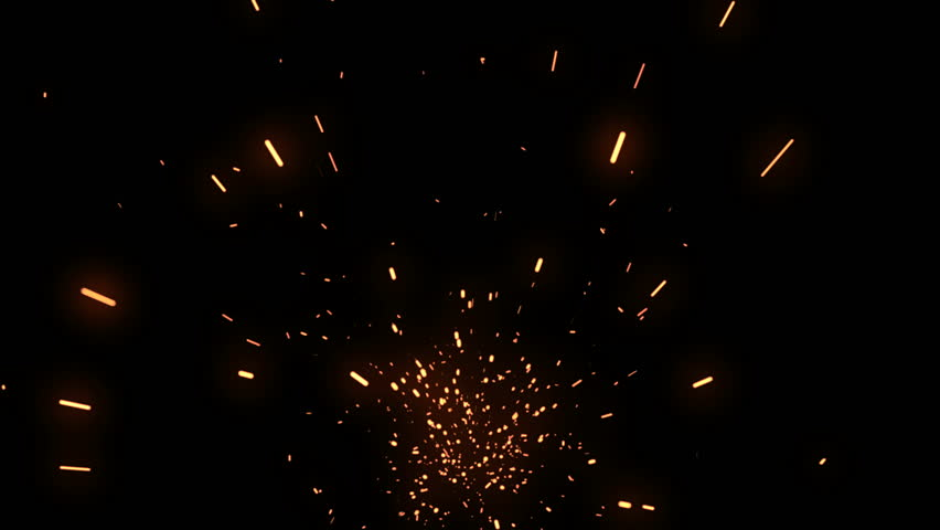 Realistic flying embers shot on black background. 3D particle abstract vfx with matte.
