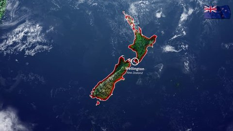 New Zealand map and border, physical map, Oceania, map with reliefs and mountains and Pacific Ocean