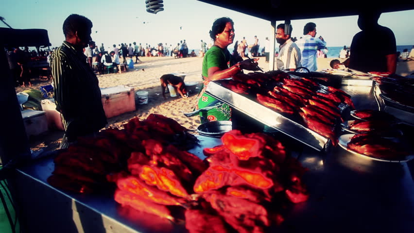 INDIA - JULY 2012:Rack focus shot of a fish stall on the beach, Chennai, Tamil Nadu, India #3117004