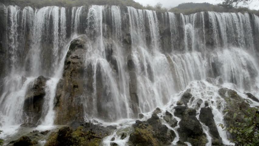 Autumn view of the waterfalls at the UNESCO World Heritage Site - Jiuzhaigou Valley